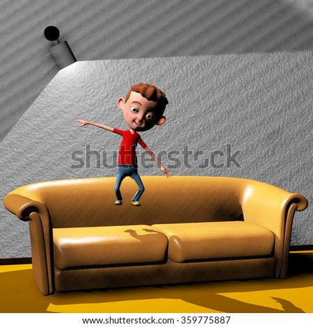 3d rendered illustration of a young boy jumping on a couch