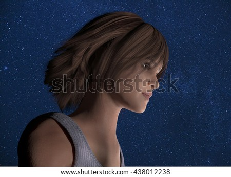 3d rendered illustration of a young woman with a starry background