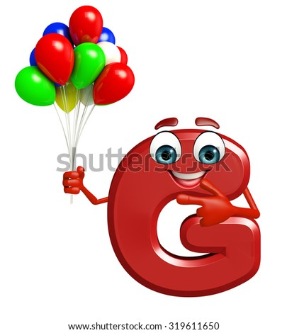 3d rendered illustration of alphabet G Cartoon Character with balloons