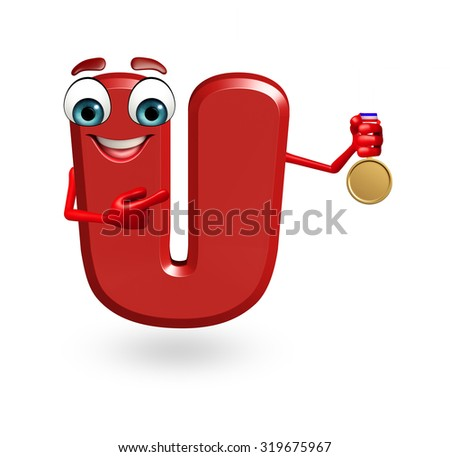3d rendered illustration of alphabet U Cartoon Character with medal