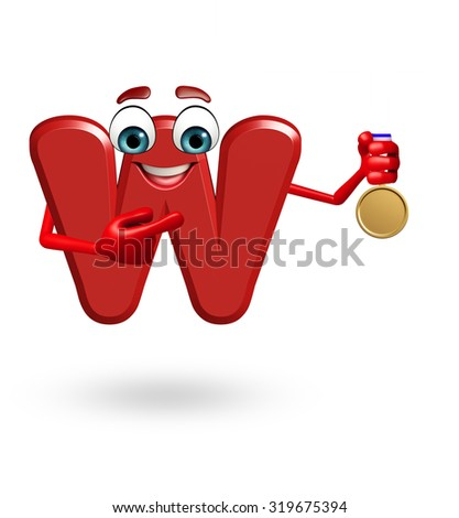 3d rendered illustration of alphabet W Cartoon Character with medal