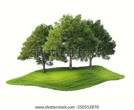 3d rendered illustration of an island with grove floating in the air. Isolate on white background - stock photo