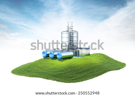 3d rendered illustration of an island with oil factory with storage floating in the air on sky background - stock photo