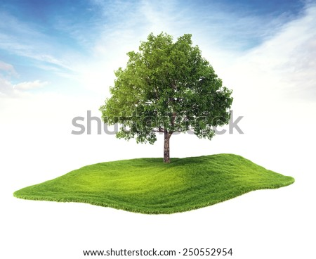 3d rendered illustration of an island with tree floating in the air on sky background - stock photo