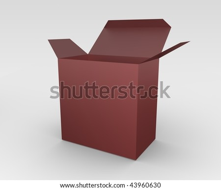 3D rendered illustration of an open red box