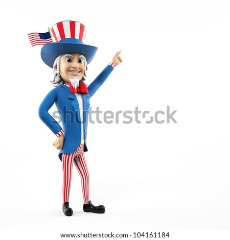 3d rendered illustration of an uncle sam - stock photo