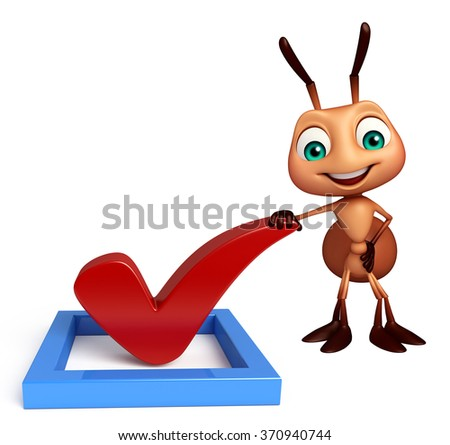 3d rendered illustration of Ant cartoon character with right sign - stock photo