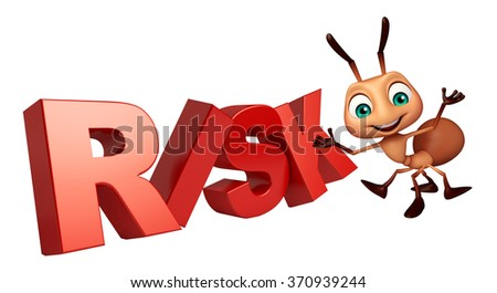 3d rendered illustration of Ant cartoon character with risk sign