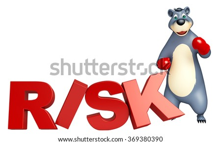 3d rendered illustration of Bear cartoon character with boxing glubs and risk sign - stock photo