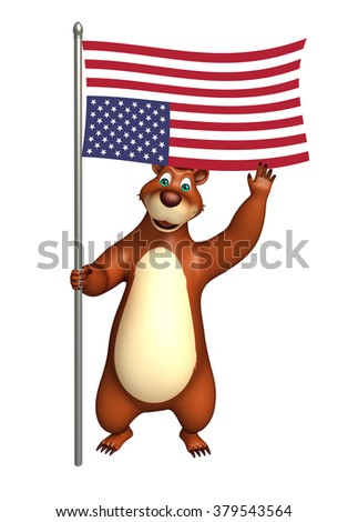 3d rendered illustration of Bear cartoon character with flag