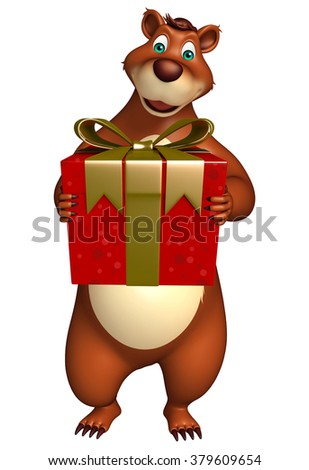 3d rendered illustration of Bear cartoon character with gift box