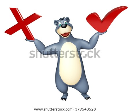 3d rendered illustration of Bear cartoon character with right sign and wrong sign - stock photo