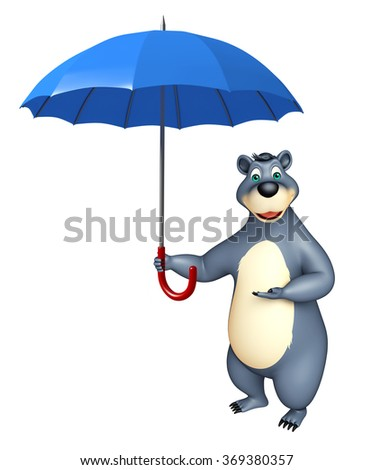 3d rendered illustration of Bear cartoon character with umbrella