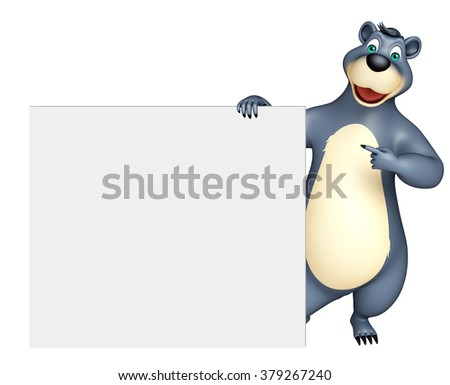 3d rendered illustration of Bear cartoon character with white board