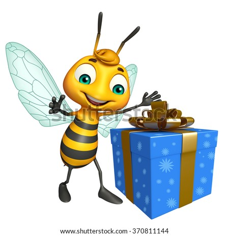 3d rendered illustration of Bee cartoon character with gift box - stock photo