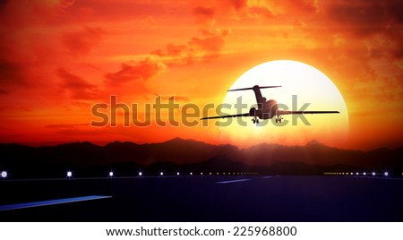 3d rendered illustration of big jet passenger plane fly up over take-off runway from airport and fliyng out in sunset sky - stock photo