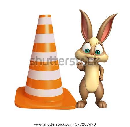3d rendered illustration of Bunny cartoon character with construction cone - stock photo