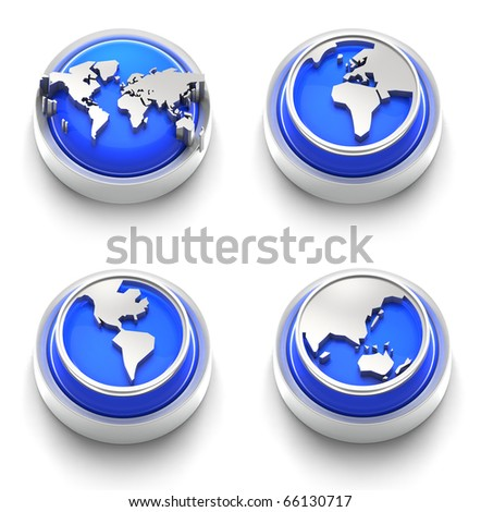3D rendered illustration of button icon set with continents and Atlas - stock photo