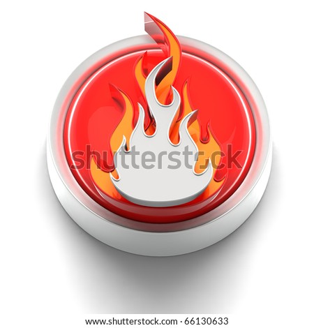 3D rendered illustration of button icon with Flame symbol