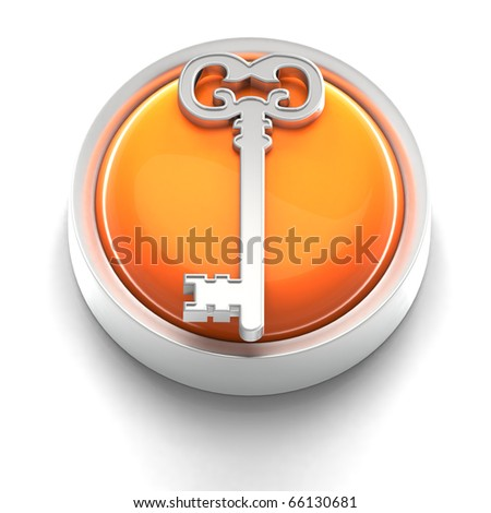 3D rendered illustration of button icon with Key symbol - stock photo