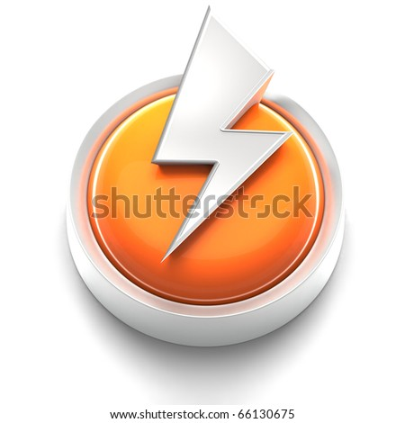 3D rendered illustration of button icon with lightning Bolt symbol - stock photo