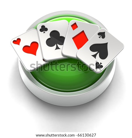 3D rendered illustration of button icon with Poker Aces symbol