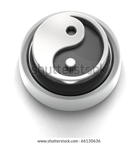3D rendered illustration of button icon with Yes word Yin Yang - stock photo