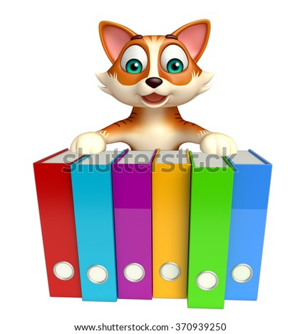 3d rendered illustration of cat cartoon character with files  - stock photo
