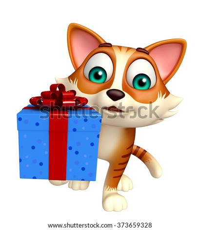 3d rendered illustration of cat cartoon character with gift box  - stock photo