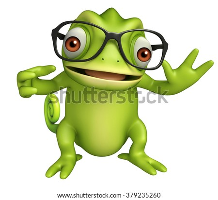 3d rendered illustration of Chameleon cartoon character