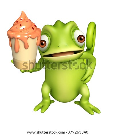3d rendered illustration of Chameleon cartoon character with ice cream