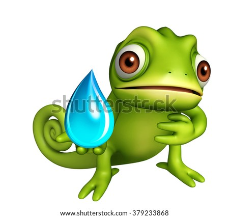 3d rendered illustration of Chameleon cartoon character with water drop