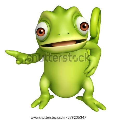 3d rendered illustration of Chameleon funny cartoon character