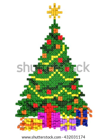 3D rendered Illustration of christmas tree on white background. Voxel (pixel) minimalistic art. - stock photo