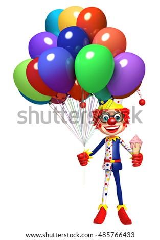 3d rendered illustration of Clown with Balloon and Icecream