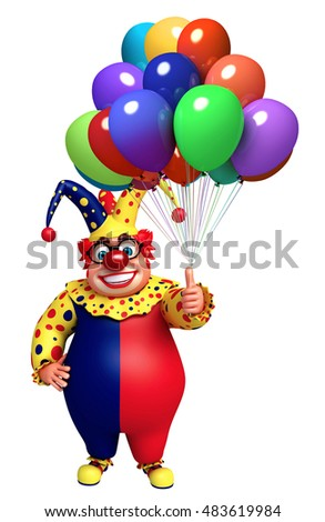 3d rendered illustration of Clown with Balloons