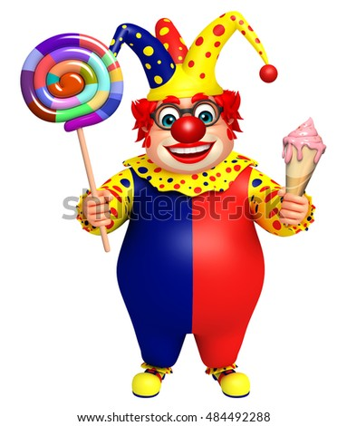 3d rendered illustration of Clown with Icecream and Lolypop