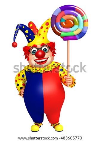 3d rendered illustration of Clown with Lollypop