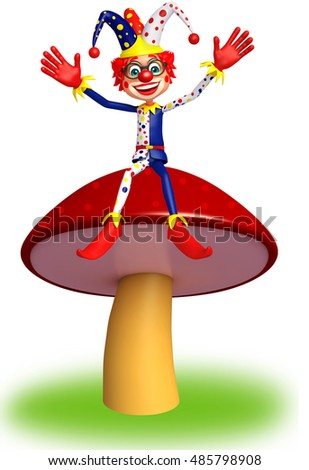 3d rendered illustration of Clown with Mashroom