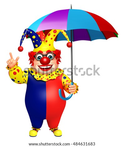 3d rendered illustration of Clown with Umbrella