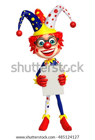 3d rendered illustration of Clown with White board