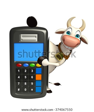 3d rendered illustration of Cow cartoon character swap machine
