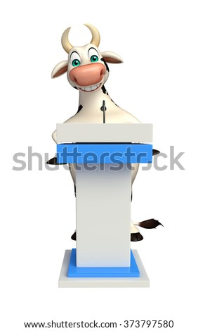 3d rendered illustration of Cow cartoon character with speech stage