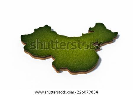 3d rendered illustration of cross section map People's Republic of China (PRC) isolated on white - stock photo