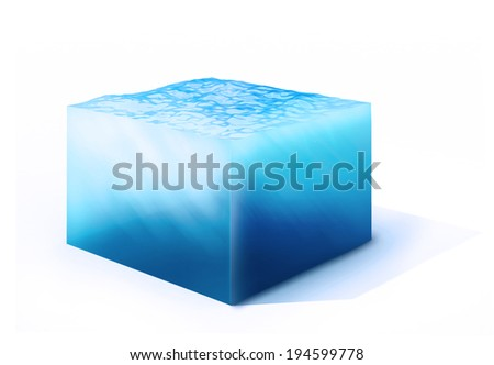 3d rendered illustration of cross section of water cube isolated on white - stock photo