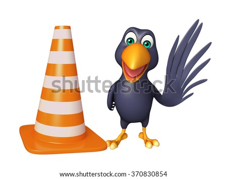 3d rendered illustration of Crow cartoon character  with  construction cone - stock photo