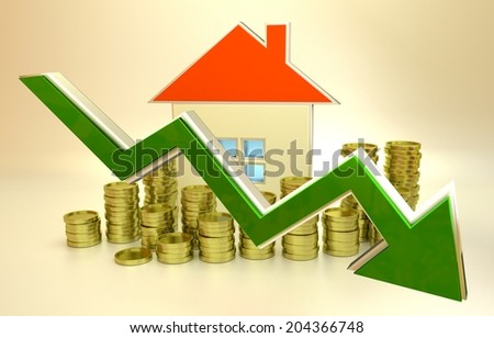 3D rendered illustration of declining real estate prices - stock photo