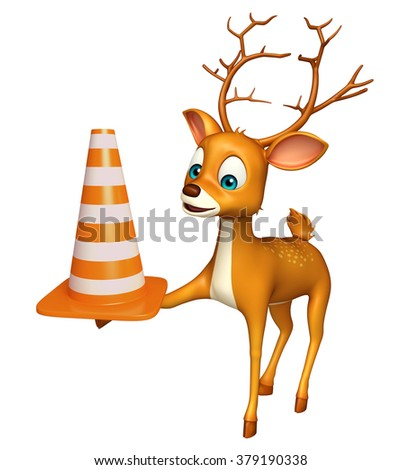 3d rendered illustration of Deer cartoon character with construction cone - stock photo