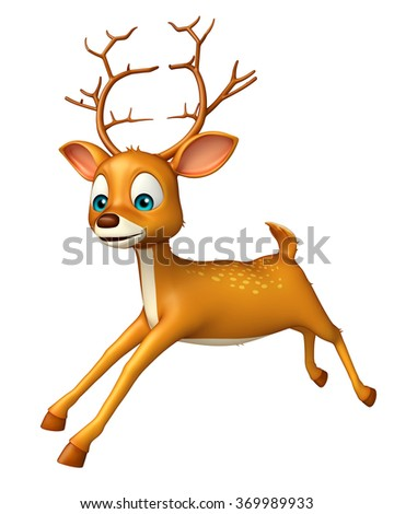 3d rendered illustration of Deer funny cartoon character