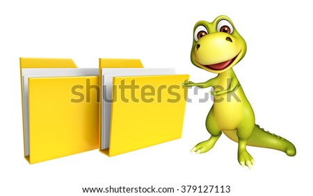 3d rendered illustration of Dinosaur cartoon character with folder